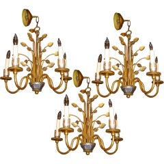 Pair of Bagues Five Light Chandeliers