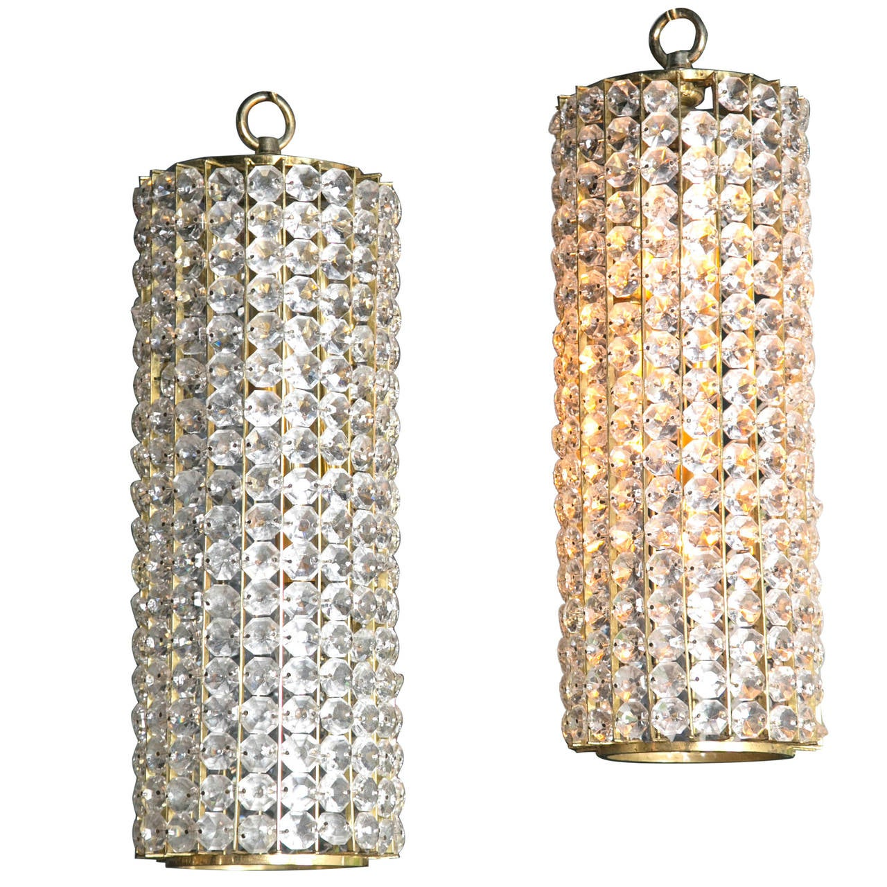 Pair of French Crystal Light Fixtures, circa 1930s
