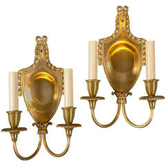 Pair of circa 1920s Sterling Bronze & Co. Gilt Bronze Sconces