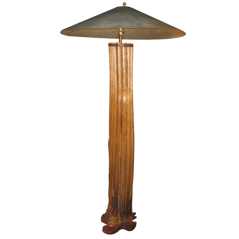 One Of A Kind Wood Floor Lamp With Tole Shade At 1stdibs