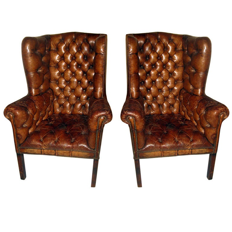 Pair Tufted Leather Wingback Chairs at 1stdibs