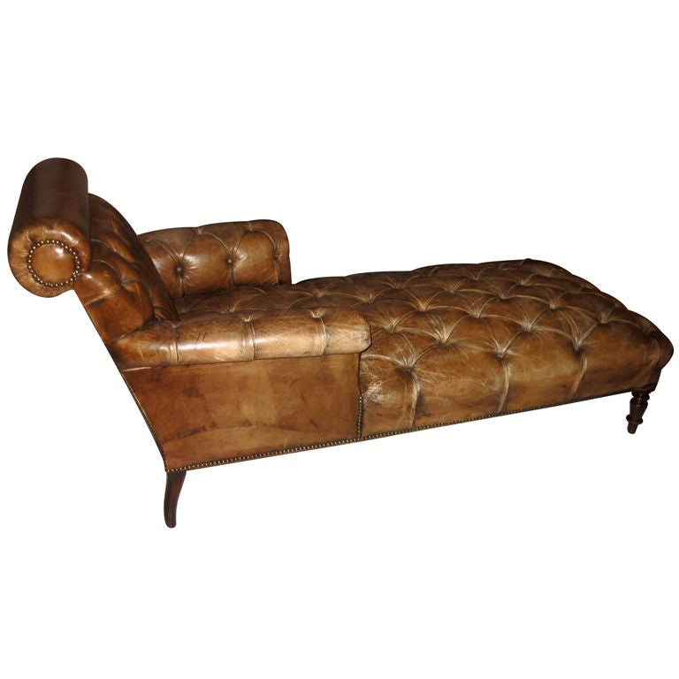 English leather chaise at 1stdibs for Chaise longue in english