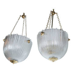 Pair of 1930s French Molded Frosted Glass Lanterns