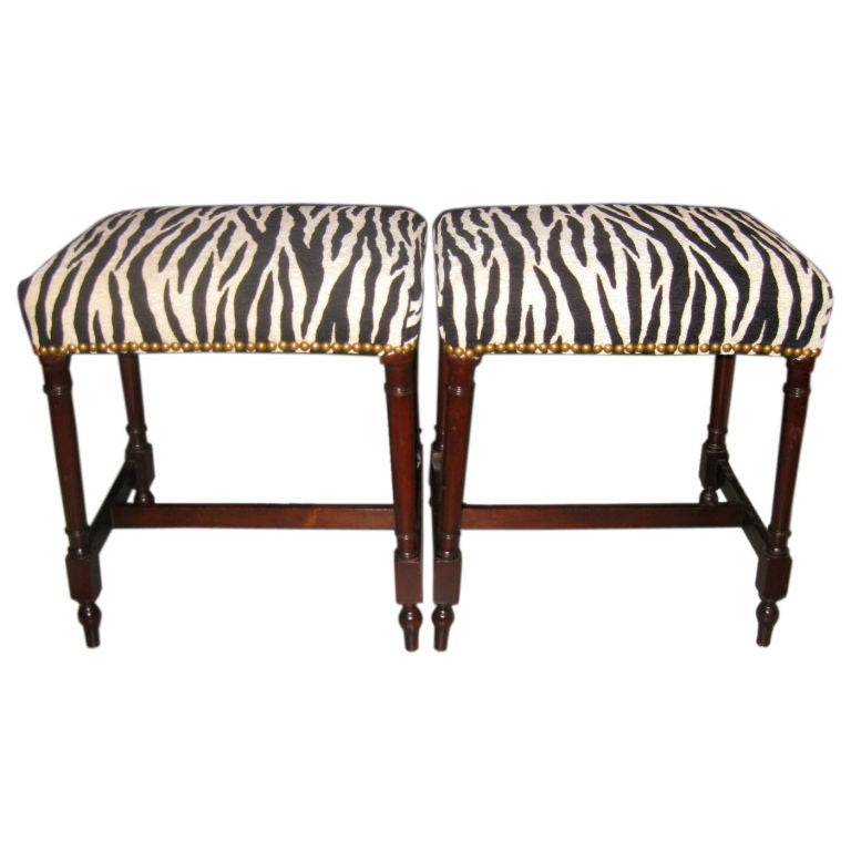 Pair Of Benches Upholstered In Faux Zebra At 1stdibs