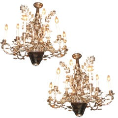 Pair Of Silver Leaf French Bagues 9 Light Chandeliers