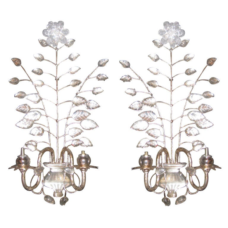 Set Of Eight Bagues Sconces With Mercury Glass Bobeches