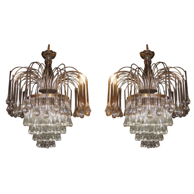 Pair Of French Silverplated Crystal Tear Drop Chandeliers