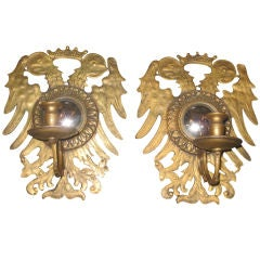 Set Of Eight Austrian Gilt Bronze Sconces