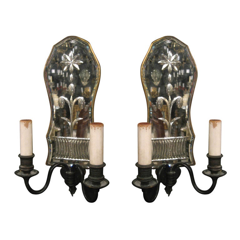 Pair Of Caldwell Mirrored Backplate Sconces