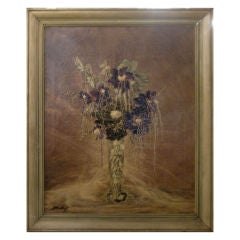 Antique Painting Of Flowers In A Vase