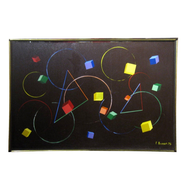 Geometric Abstract Painting Signed F. Barbot