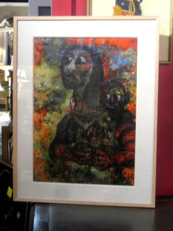 Painting framed under glass of mother and child