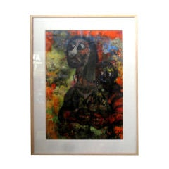 Vintage Newly Framed painting Of Mother And Child