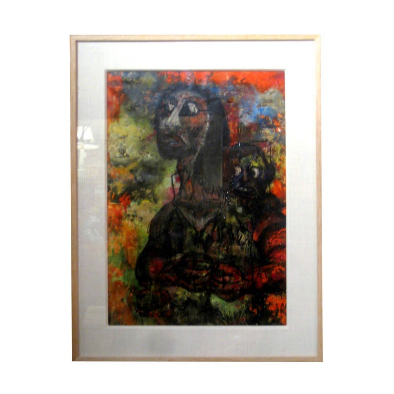 Vintage Newly Framed painting Of Mother And Child For Sale