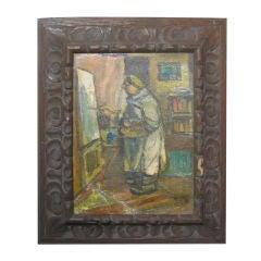 Oil On Board Self Portrait By Russian Artist Benjamin Kopman