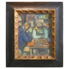 Oil On Board Painting Of Chess Players By Benjamin Kopman