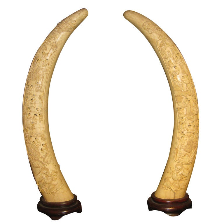 Chinese carved bone tusks at 1stdibs