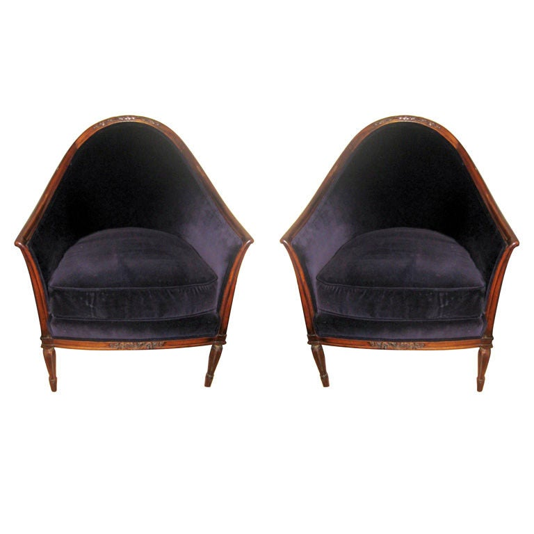 Pair of vintage french lounge chairs at 1stdibs for Vintage parisian lounge