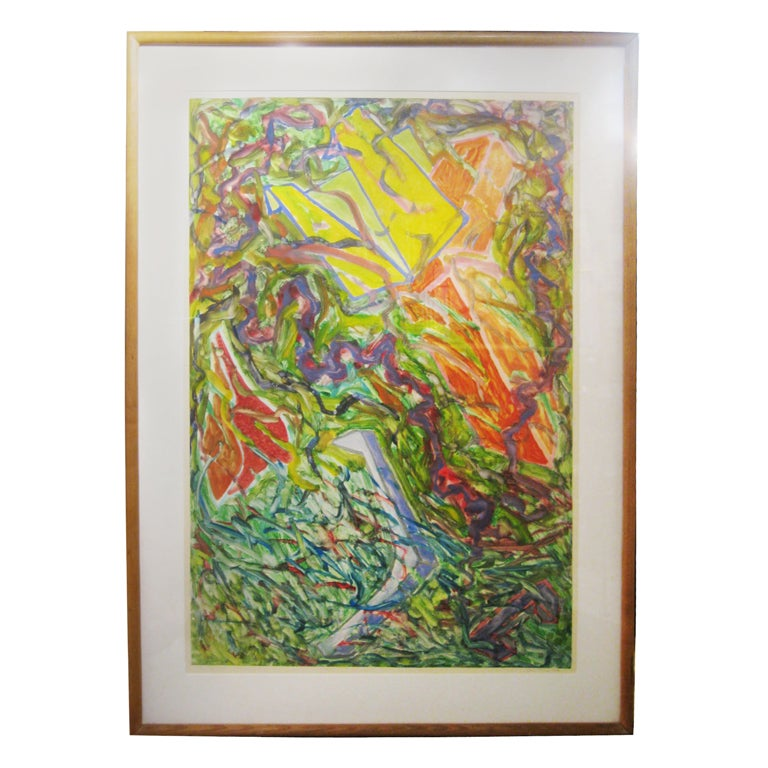 Signed And Numbered Framed Abstract Lithograph By G. Thorne