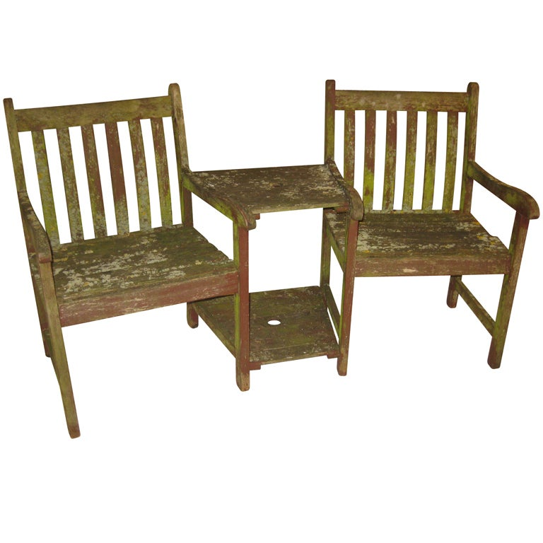 Weathered Teak Garden Table With Attached Chairs At 1stdibs