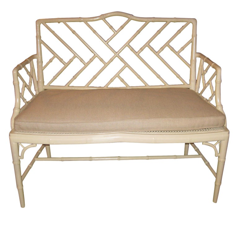 Vintage Faux Bamboo Settee With A Belgian Linen Cushion For Sale