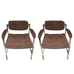 Pair Of Milo Baughman Chrome Chairs