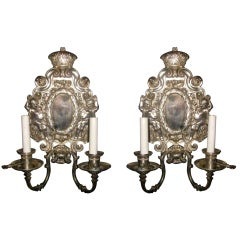 Pair Of Silverplate E.F. Caldwell Sconces