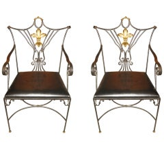Pair Of Iron Chairs With Gold Fleur De Lis