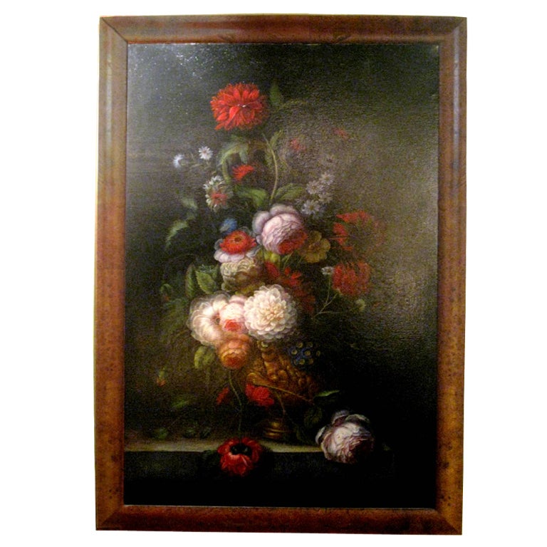 Floral Oil Painting With Birds Eye Maple Frame