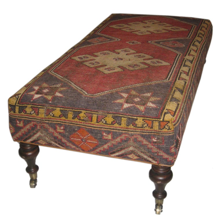 Turkish Rug Covered Ottoman: Long Ottoman Upholstered In Oushack Rug At 1stdibs