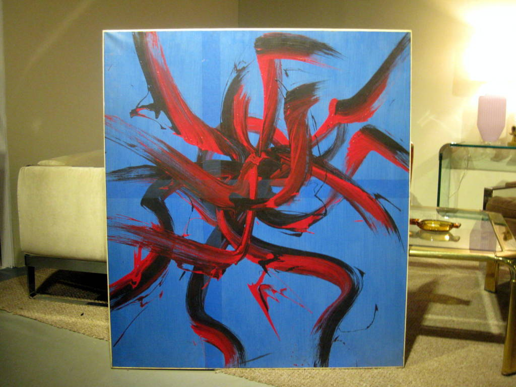 In the manner of the American Abstract Expressionists The emotional intensity and vibrant color choice are truly unique in this series of paintings. There are three in this series and they are being sold individually.