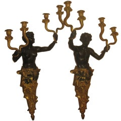 Large Scale Pair Of Palace Figural Bronze Sconces