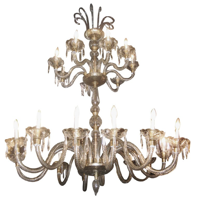 1930's French 22 Light Cut Crystal Chandelier