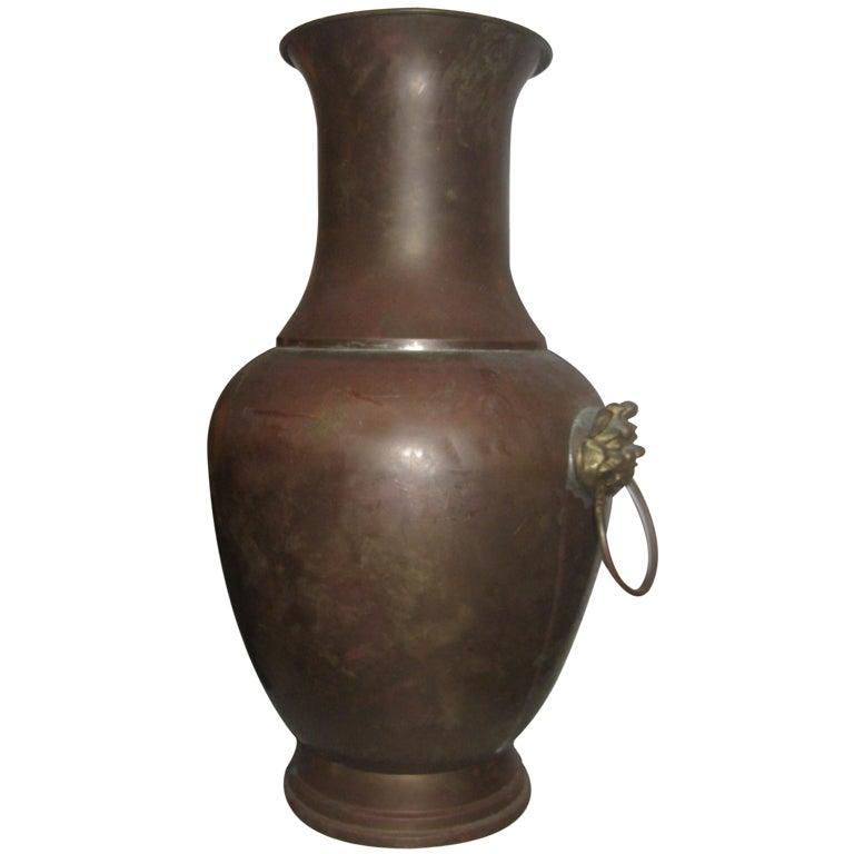 Chinese Brass Foo Dog Vase
