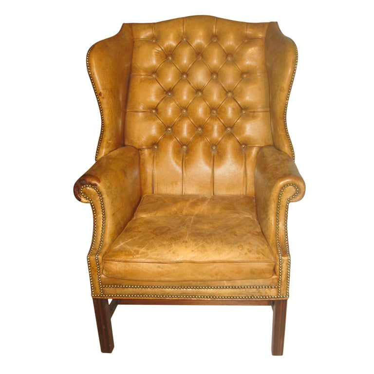 Antique Tufted Leather Wing Chair At 1stdibs