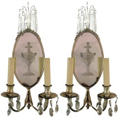 Two Pair Of  E.F. Caldwell Silverplate Sconces