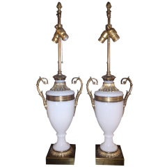 Pair Of French Opaline Glass Lamps With Gilt Bronze Fittings