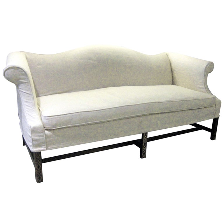 Camel Back Sofa With Linen Slipcover At 1stdibs