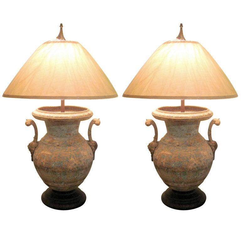 Pair Large Patinated Verdigris Iron And Tin Urns As Lamps