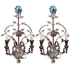 Pair Of Large Bagues Sconces With Cut Crystal Body