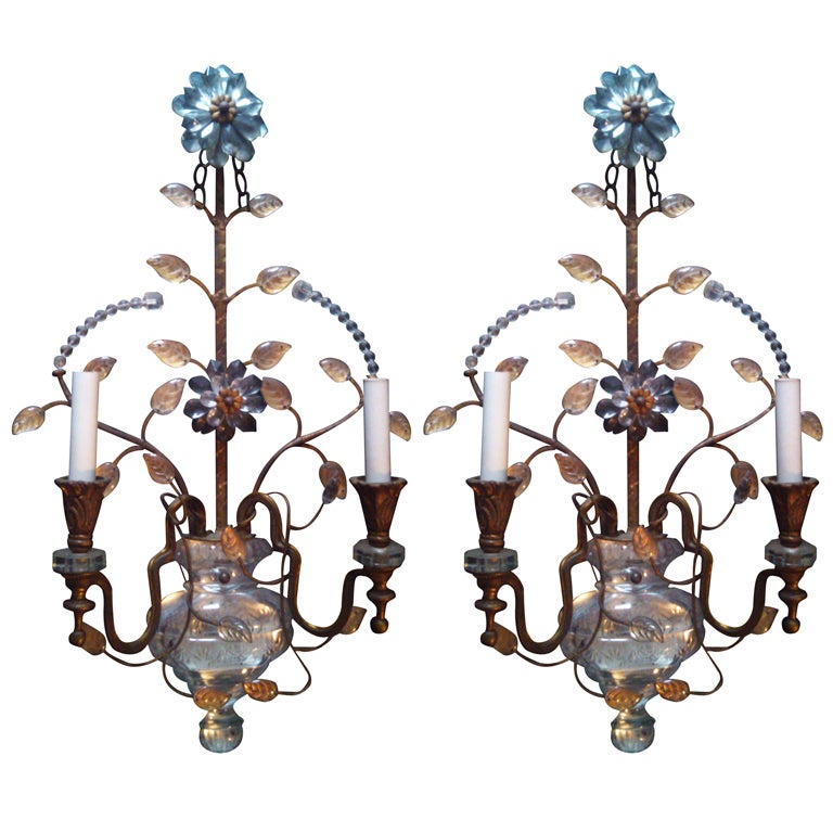 Pair Of Large Bagues Sconces With Cut Crystal Body For Sale