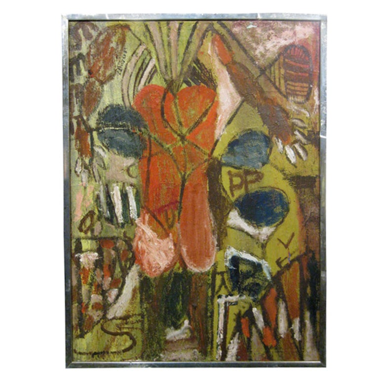 Abstract Oil On Canvas For Sale