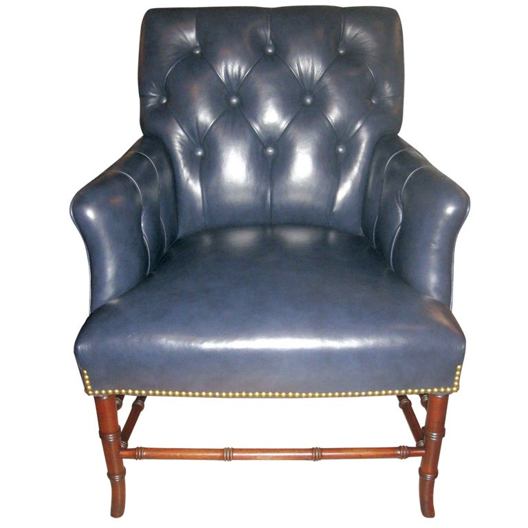 Mid Century Blue Leather Arm Chair With Faux Bamboo Legs