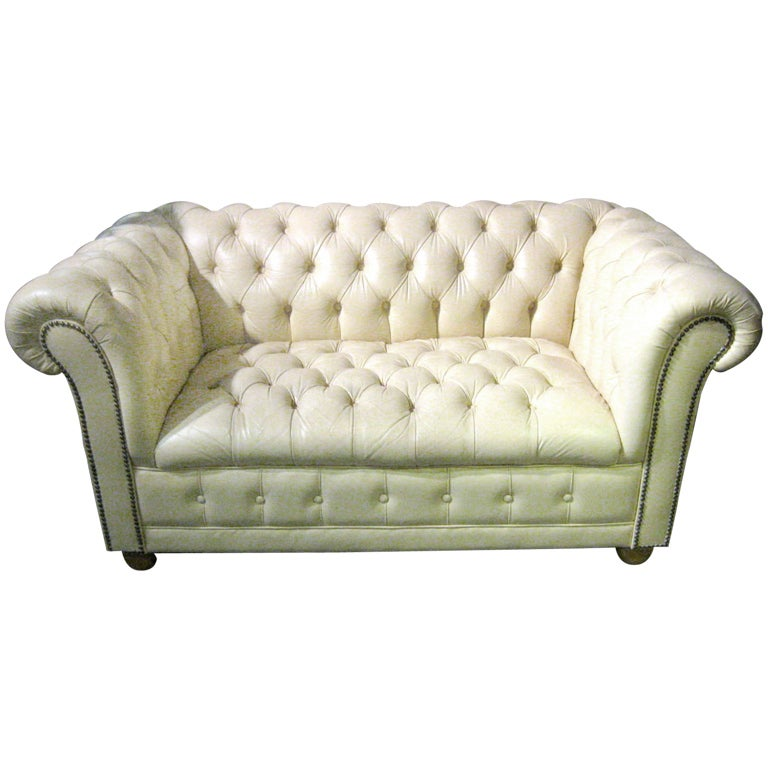 Vintage Cream Colored Tufted Leather Loveseat At 1stdibs