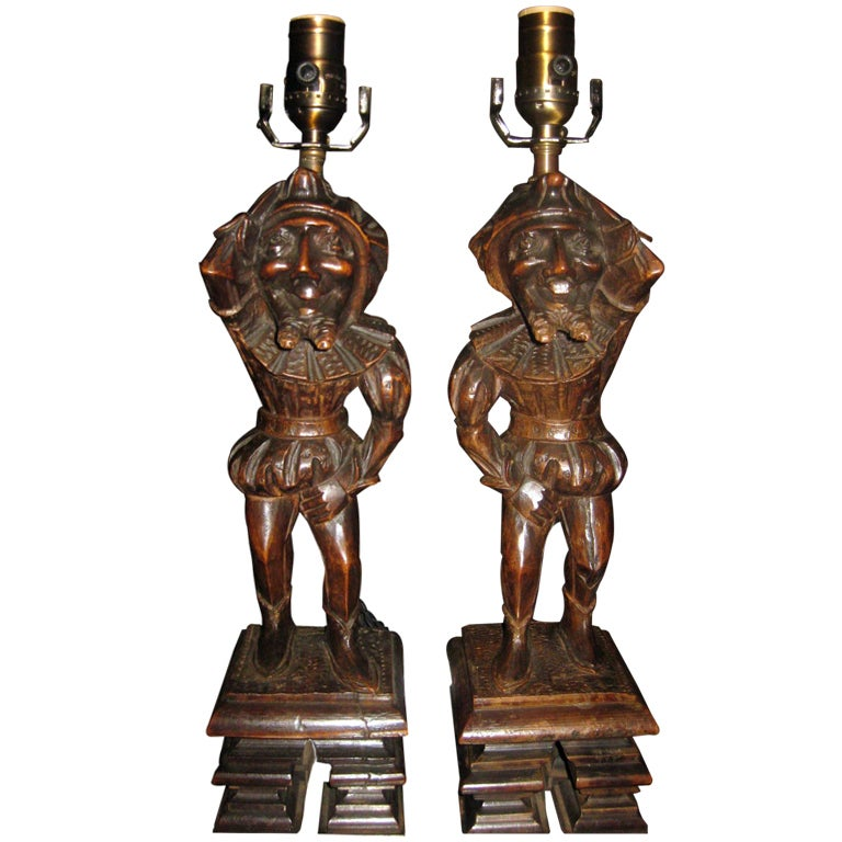 Pair Of Antique Carved Wood Figures Made Into Lamps