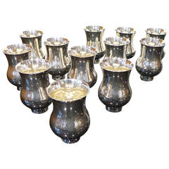 Set of Twelve Sterling Silver Puiforcat Champagne Beakers