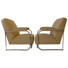 Pair of French Modernist Lounge Chairs