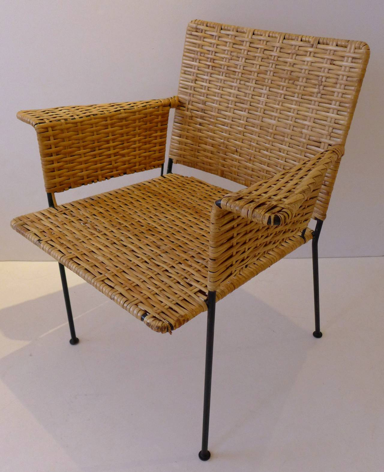 Indoor And Outdoor Chair Of Wrought Iron And Woven Rattan By Designers  Hendrik Van Keppel And