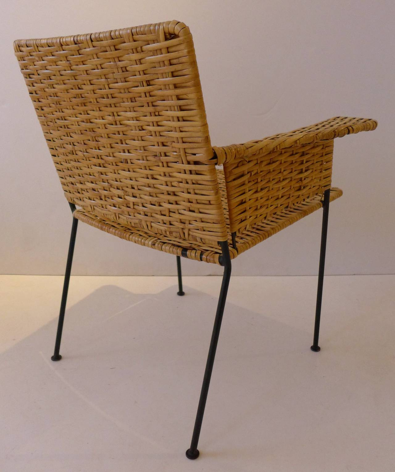Van Keppel Green Chair In Wrought Iron And Rattan For Sale