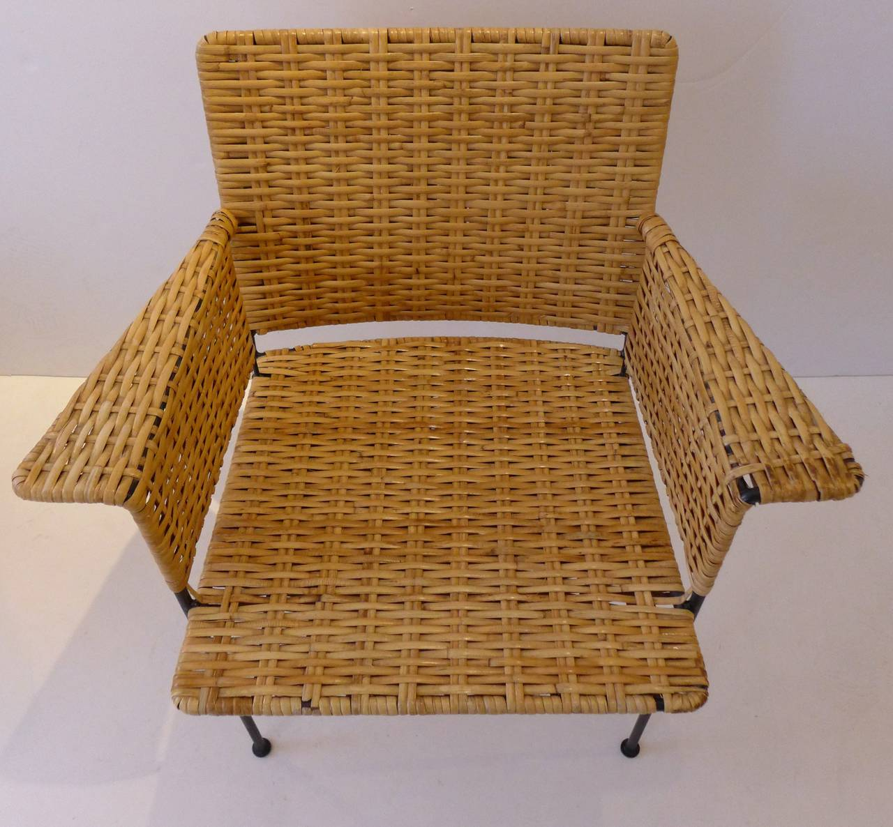 American Mid Century Modern Atomic Age Small Patio Round: Van Keppel-Green Chair In Wrought Iron And Rattan At 1stdibs